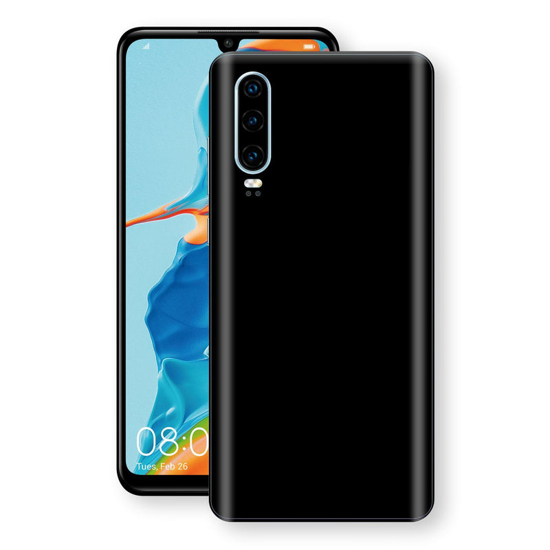 Huawei P30 Black Glossy Gloss Finish Skin, Decal, Wrap, Protector, Cover by EasySkinz | EasySkinz.com