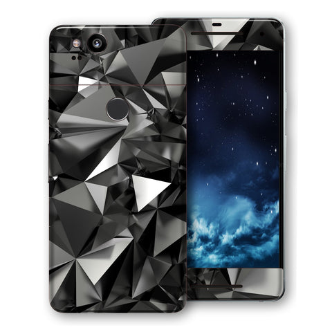 Google Pixel 2 Print Custom Signature Black Crystals Crystal Skin Wrap Decal by EasySkinz