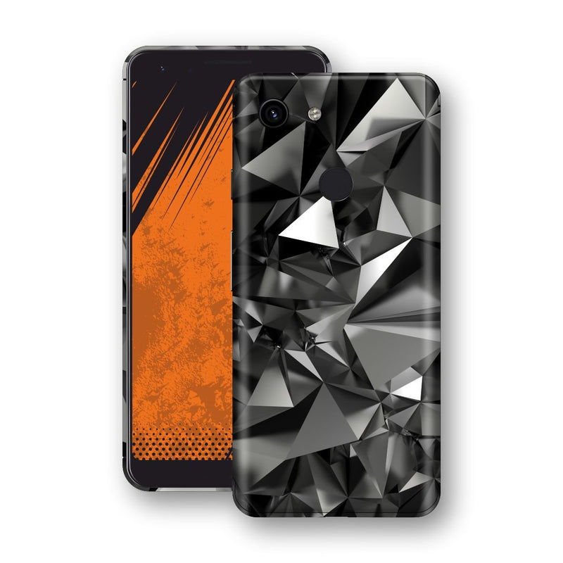 Google Pixel 3a XL Signature Black Crystals Skin Wrap Decal Cover by EasySkinz