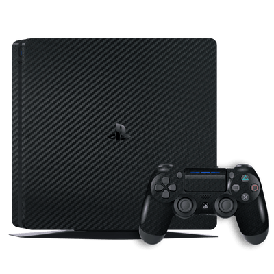 Playstation 4 SLIM PS4 SLIM Black Carbon Fibre Fiber Skin Wrap Decal by EasySkinz