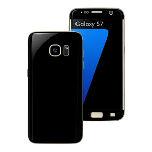 Samsung Galaxy S7 Glossy BLACK Skin Wrap Decal Sticker Cover Protector by EasySkinz