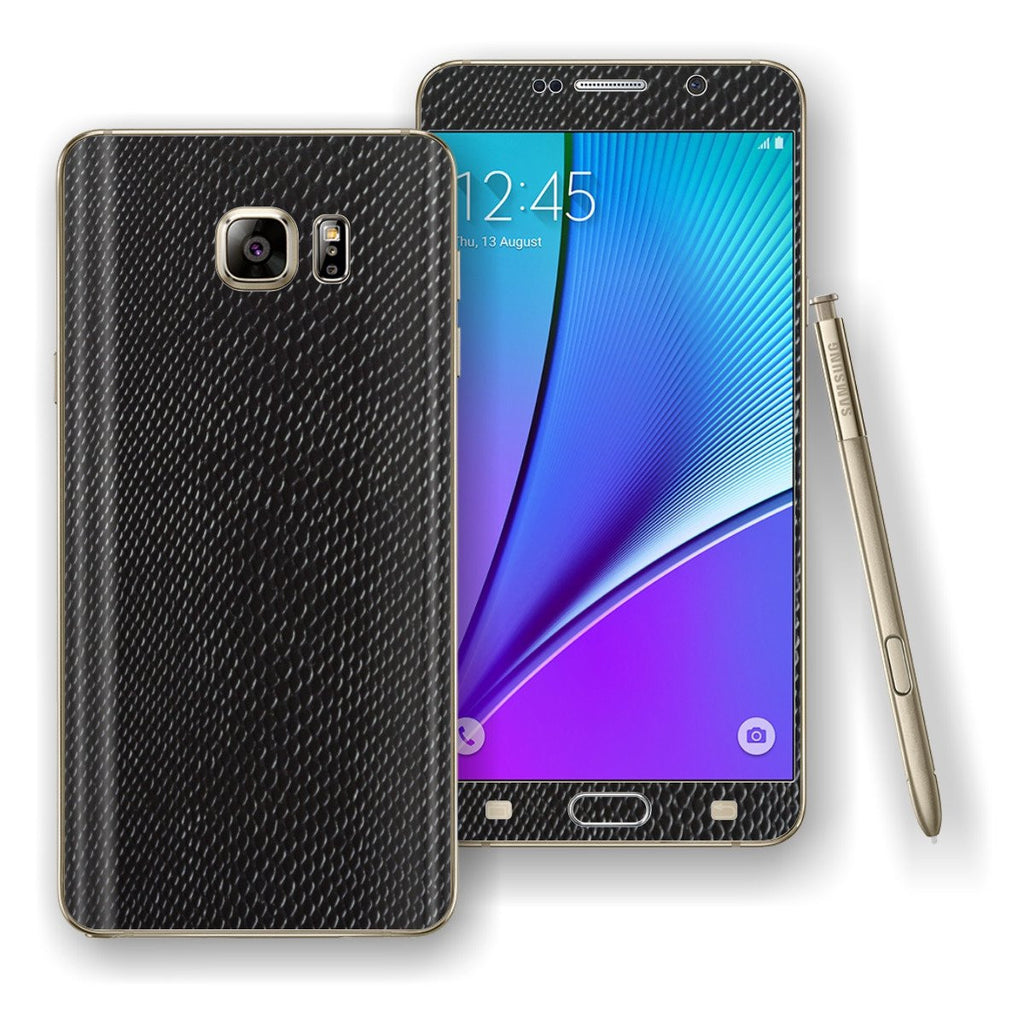 Samsung Galaxy NOTE 5 Black MAMBA Snake Leather Skin Wrap Decal Cover Protector by EasySkinz