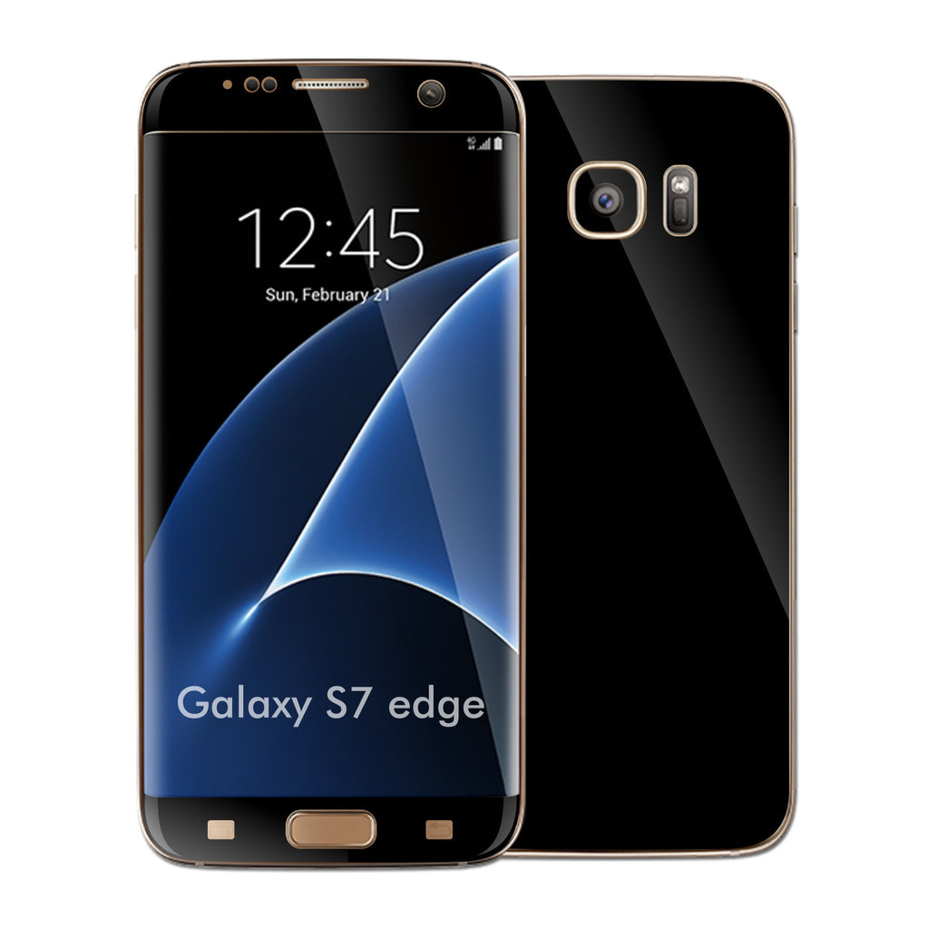 Samsung Galaxy S7 EDGE Glossy BLACK Skin Wrap Decal Sticker Cover Protector by EasySkinz