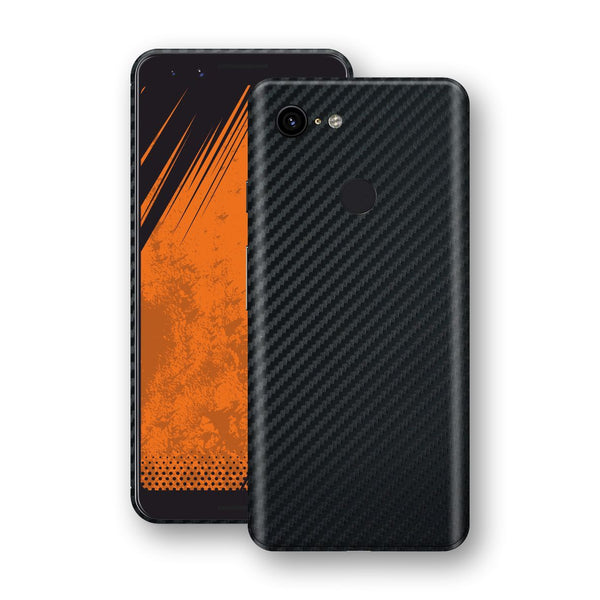 Google Pixel 3 3D Textured Black Carbon Fibre Fiber Skin, Decal, Wrap, Protector, Cover by EasySkinz | EasySkinz.com