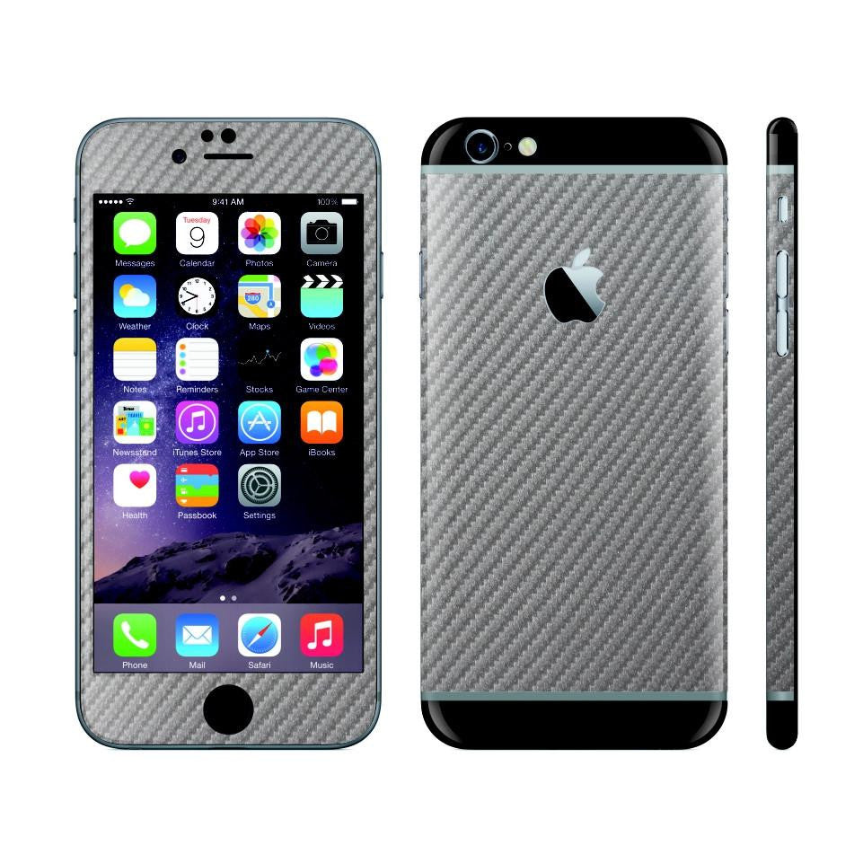 iPhone 6 Plus Metallic Grey Carbon Fibre Skin with Black Matt Highlights Cover Decal Wrap Protector Sticker by EasySkinz