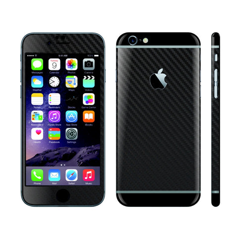 iPhone 6 Black Carbon Fibre Skin with Black Matt Highlights Cover Decal Wrap Protector Sticker by EasySkinz
