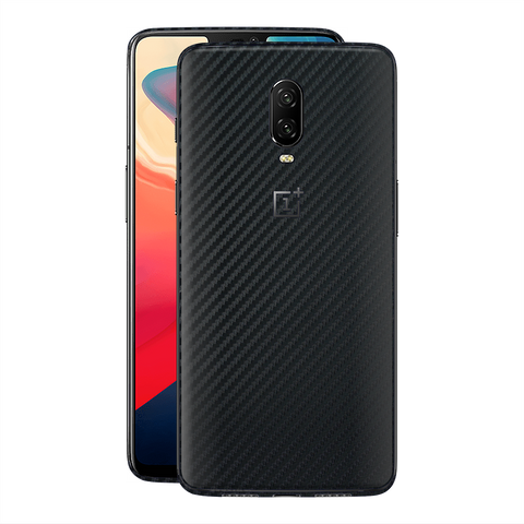 OnePlus 6T Textured 3D CARBON Fibre Fiber Black Skin Wrap Decal by EasySkinz