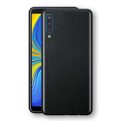 Samsung Galaxy A7 (2018) Brushed Black Metallic Metal Skin, Decal, Wrap, Protector, Cover by EasySkinz | EasySkinz.com