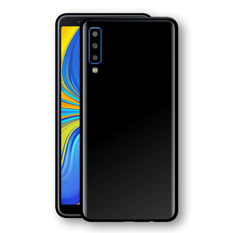 Samsung Galaxy A7 (2018) Black Glossy Gloss Finish Skin, Decal, Wrap, Protector, Cover by EasySkinz | EasySkinz.com