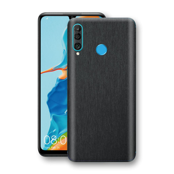 Huawei P30 LITE Brushed Black Metallic Metal Skin, Decal, Wrap, Protector, Cover by EasySkinz | EasySkinz.com