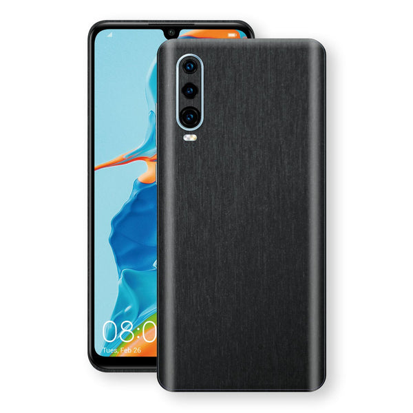 Huawei P30 Brushed Black Metallic Metal Skin, Decal, Wrap, Protector, Cover by EasySkinz | EasySkinz.com
