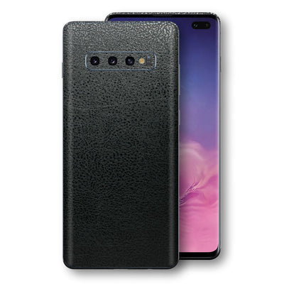 Samsung Galaxy S10+ PLUS Luxuria BLACK Leather Skin Wrap Decal Protector | EasySkinz