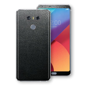 LG G6 Luxuria BLACK Leather Skin Wrap Decal Protector | EasySkinz