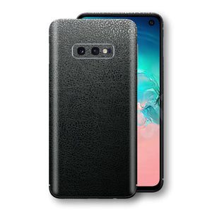 Samsung Galaxy S10e Luxuria BLACK Leather Skin Wrap Decal Protector | EasySkinz