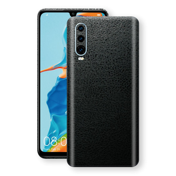 Huawei P30 Luxuria BLACK Leather Skin Wrap Decal Protector | EasySkinz#