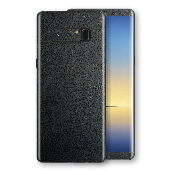 Samsung Galaxy NOTE 8 Luxuria BLACK Leather Skin Wrap Decal Protector | EasySkinz