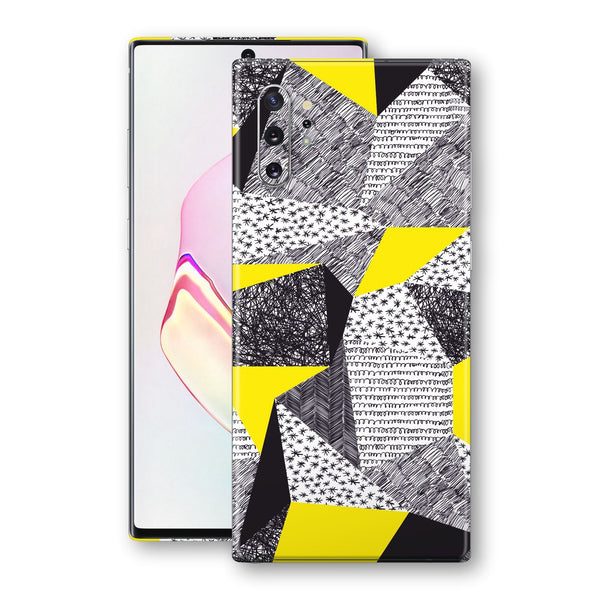 Samsung Galaxy NOTE 10+ PLUS Print Custom Signature Abstract Black & White & Yellow Sketch 3 Skin Wrap Decal by EasySkinz - Design 3