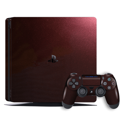 Playstation 4 SLIM PS4 Slim Glossy Black Rose Metallic Skin Wrap Decal by EasySkinz