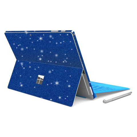 Microsoft Surface PRO 4 Diamond Blue Shimmering Glitter Skin Wrap Sticker Decal Cover Protector by EasySkinz