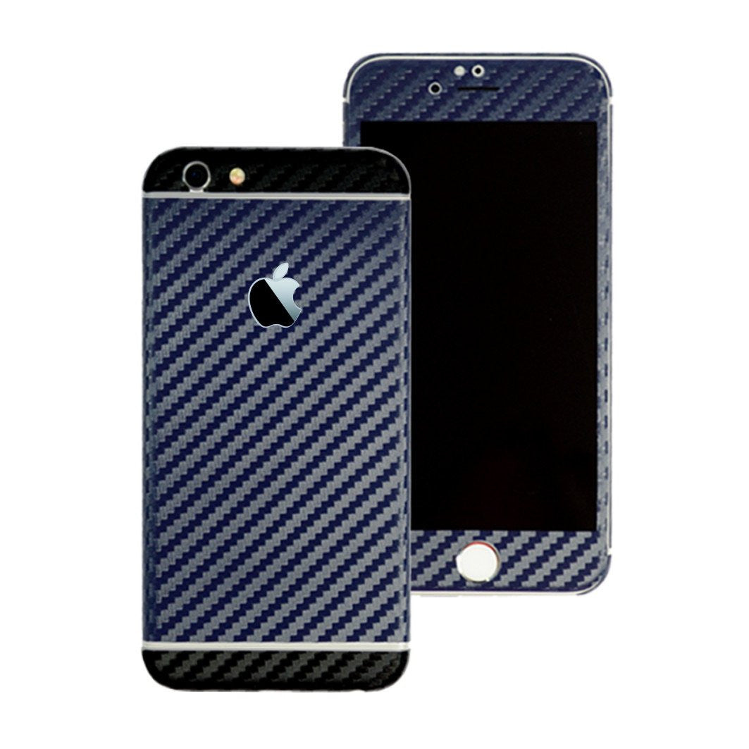 iPhone 6S PLUS Two Tone Navy Blue and Black Carbon Fibre Skin Sticker Wrap Cover Decal Protector by EasySkinz