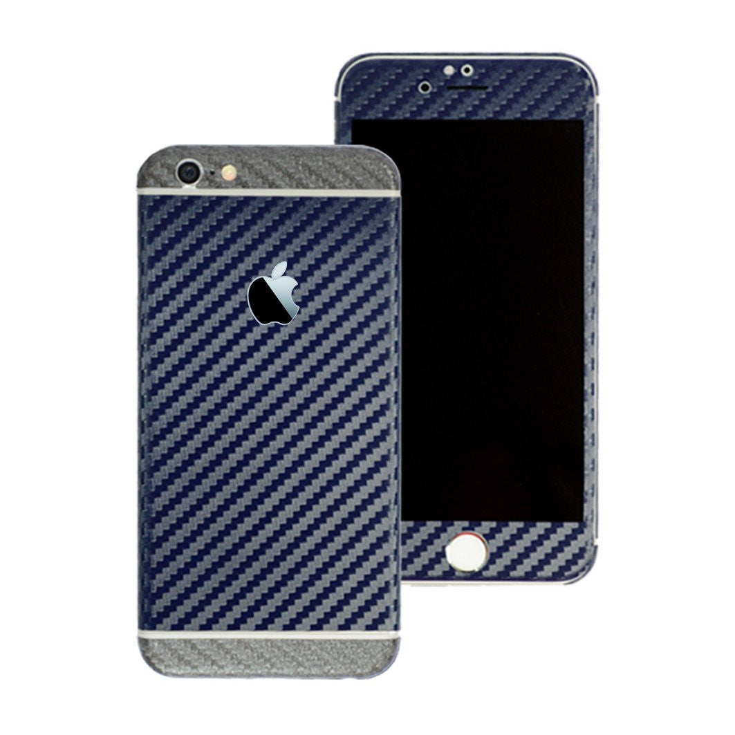 iPhone 6 Two Tone Navy Blue and Metallic Grey Carbon Fibre Skin Sticker Wrap Decal Cover Protector by EasySkinz