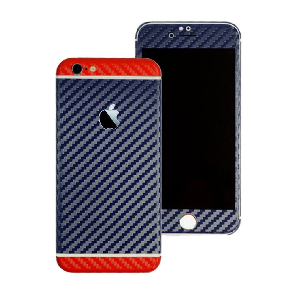 iPhone 6S Two Tone Navy Blue and Red Carbon Fibre Skin Sticker Wrap Cover Decal Protector by EasySkinz