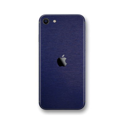 iPhone SE (2020) Brushed Blue Metallic Metal Skin Wrap Sticker Decal Cover Protector by EasySkinz
