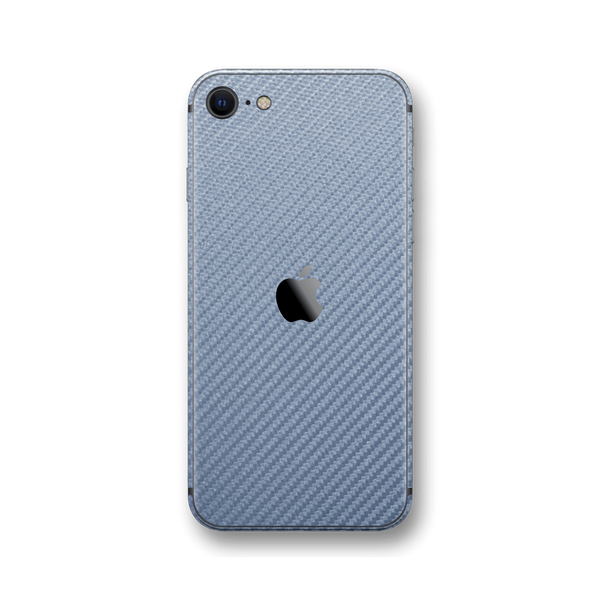 iPhone SE (2020) 3D Textured Arctic Blue Carbon Fibre Fiber Skin Wrap Sticker Decal Cover Protector by EasySkinz