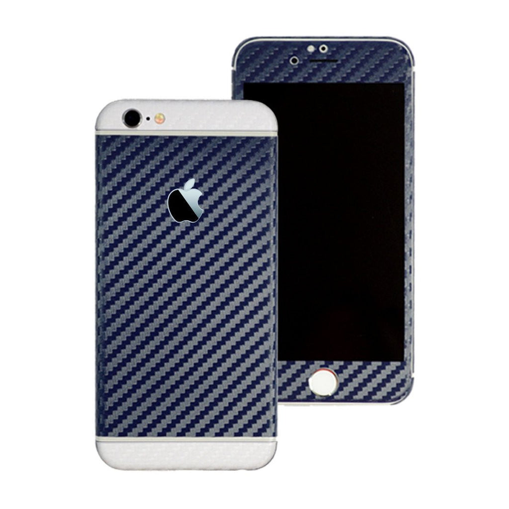 iPhone 6S Two Tone Navy Blue and White Carbon Fibre Skin Sticker Wrap Decal Protector Cover by EasySkinz