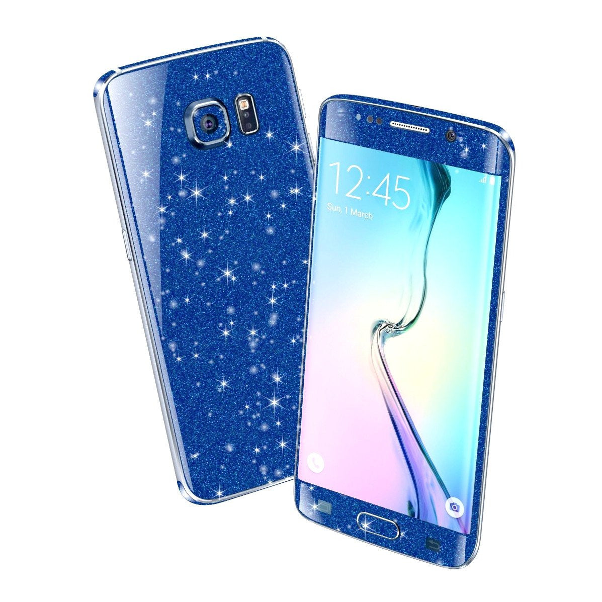 Samsung Galaxy S6 EDGE DIAMOND BLUE Shimmering Sparkling Glitter Skin Wrap Sticker Cover Decal Protector by EasySkinz