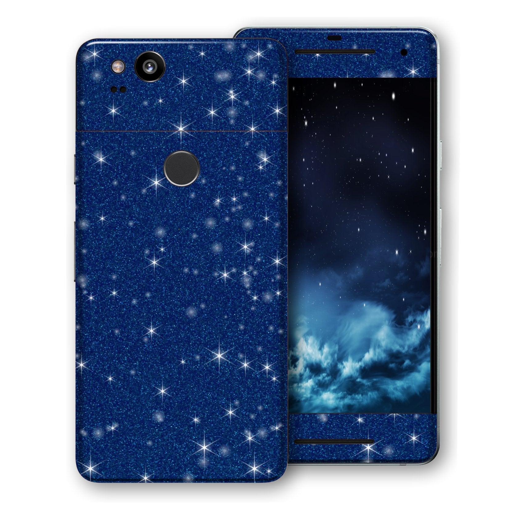 Google Pixel 2 Diamond Blue Shimmering, Sparkling, Glitter Skin, Decal, Wrap, Protector, Cover by EasySkinz | EasySkinz.com
