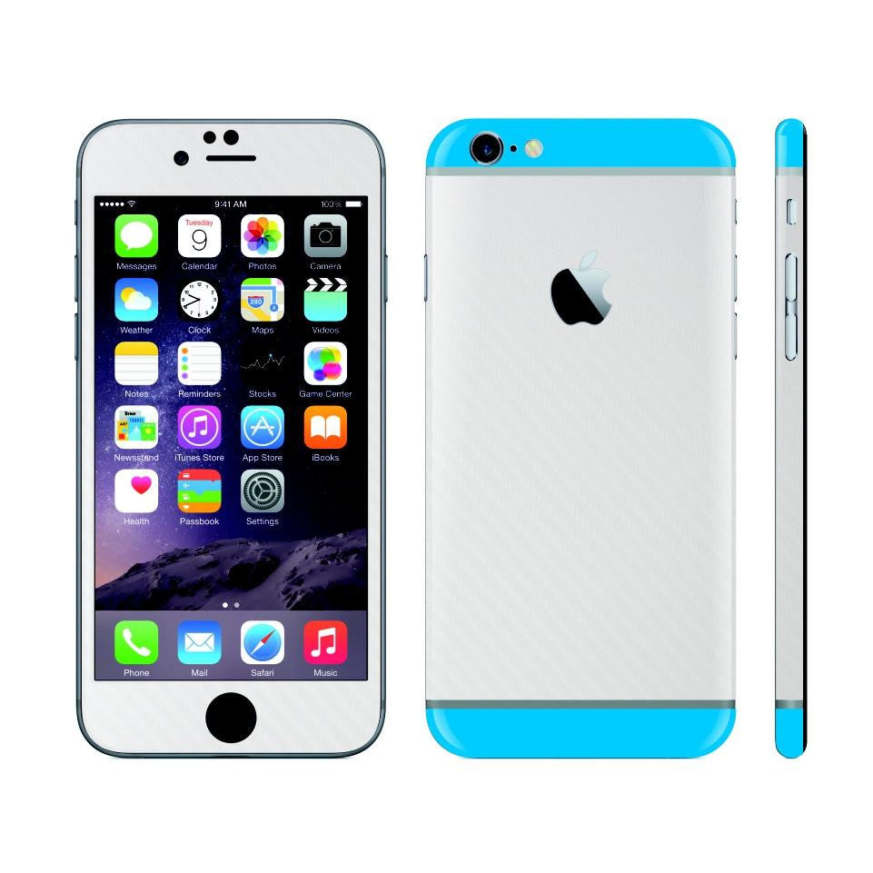 iPhone 6S White Carbon Fibre Skin with Blue Matt Highlights Cover Decal Wrap Protector Sticker by EasySkinz