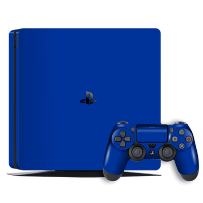 Playstation 4 SLIM PS4 Slim Glossy Royal Blue Skin Wrap Decal by EasySkinz