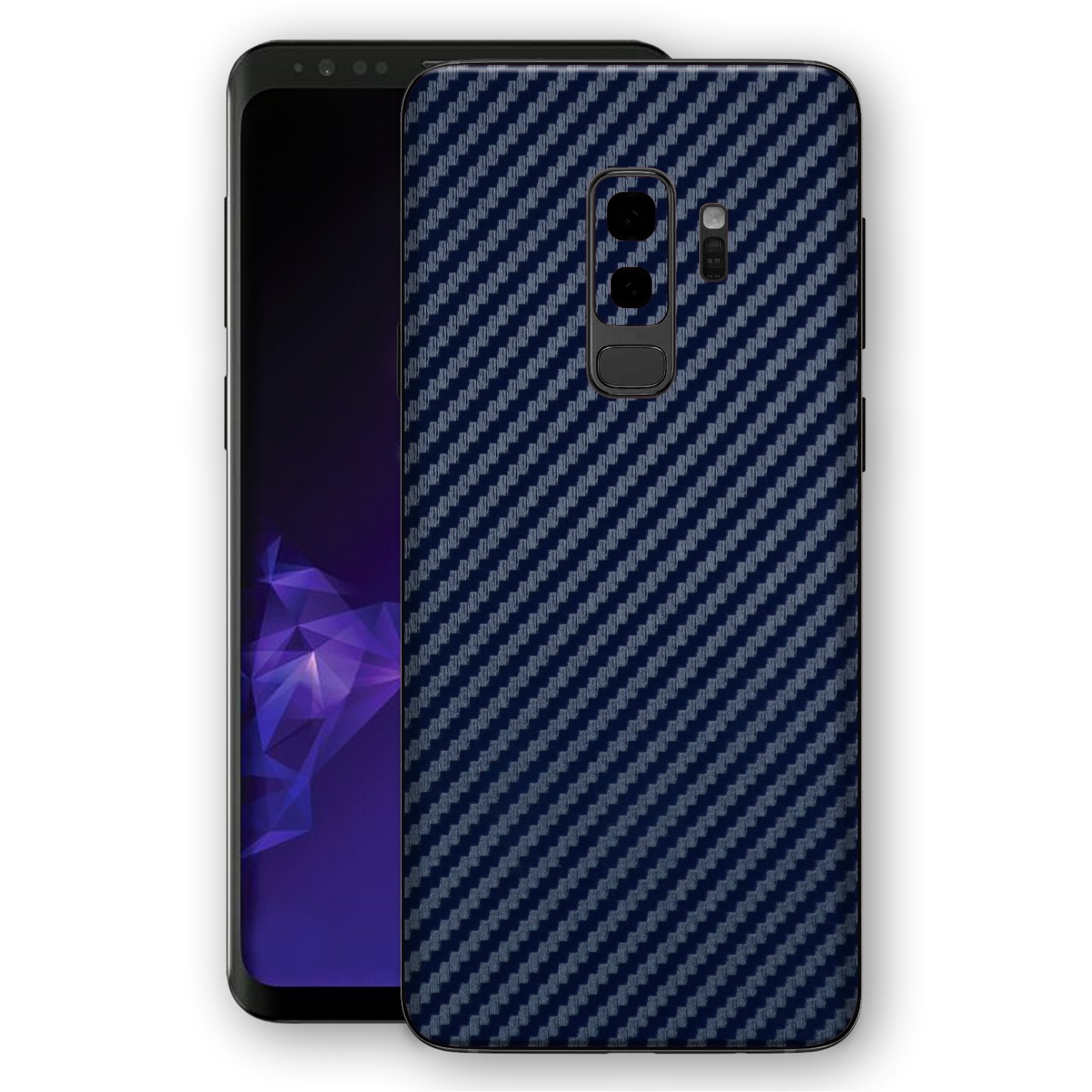 Samsung GALAXY S9+ PLUS 3D Textured Navy Blue Carbon Fibre Fiber Skin, Decal, Wrap, Protector, Cover by EasySkinz | EasySkinz.com