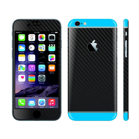 iPhone 6 Black Carbon Fibre Skin with Blue Matt Highlights Cover Decal Wrap Protector Sticker by EasySkinz