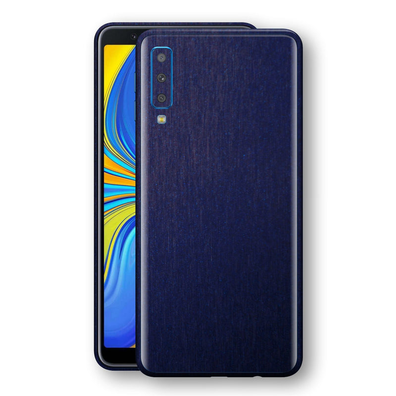 Samsung Galaxy A7 (2018) Brushed Blue Metallic Metal Skin, Decal, Wrap, Protector, Cover by EasySkinz | EasySkinz.com