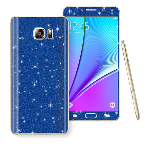 Samsung Galaxy Note 5 Diamond Glitter Shimmering BLUE Skin Wrap Decal Sticker Protector Cover by EasySkinz