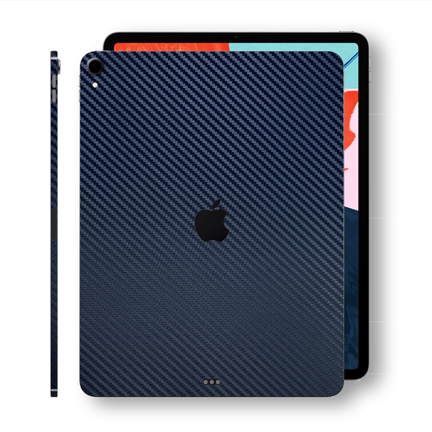 "iPad PRO 12.9"" 3rd Generation 2018 Navy Blue 3D Textured CARBON Fibre Fiber Skin Wrap Sticker Decal Cover Protector by EasySkinz"
