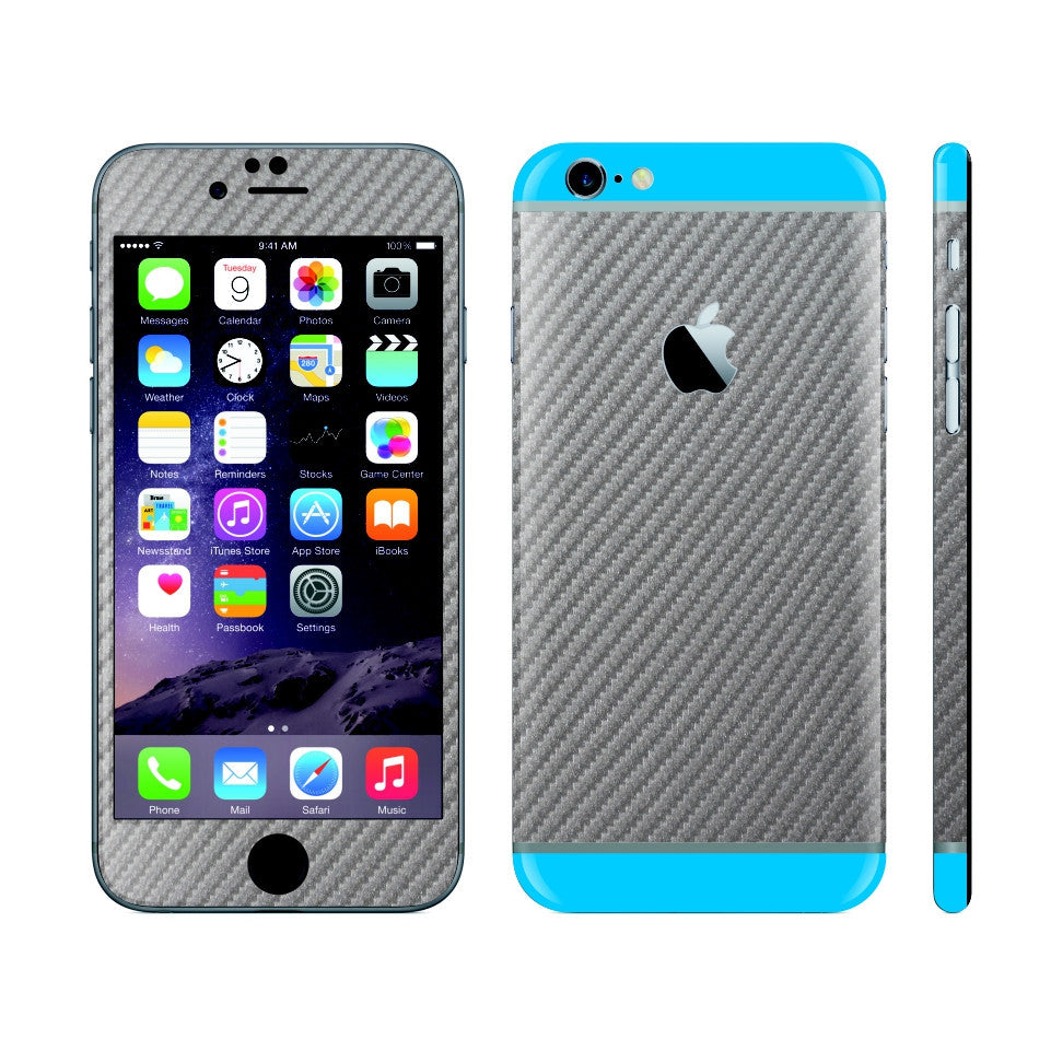 iPhone 6S Metallic Grey Carbon Fibre Skin with Blue Matt Highlights Cover Decal Wrap Protector Sticker by EasySkinz