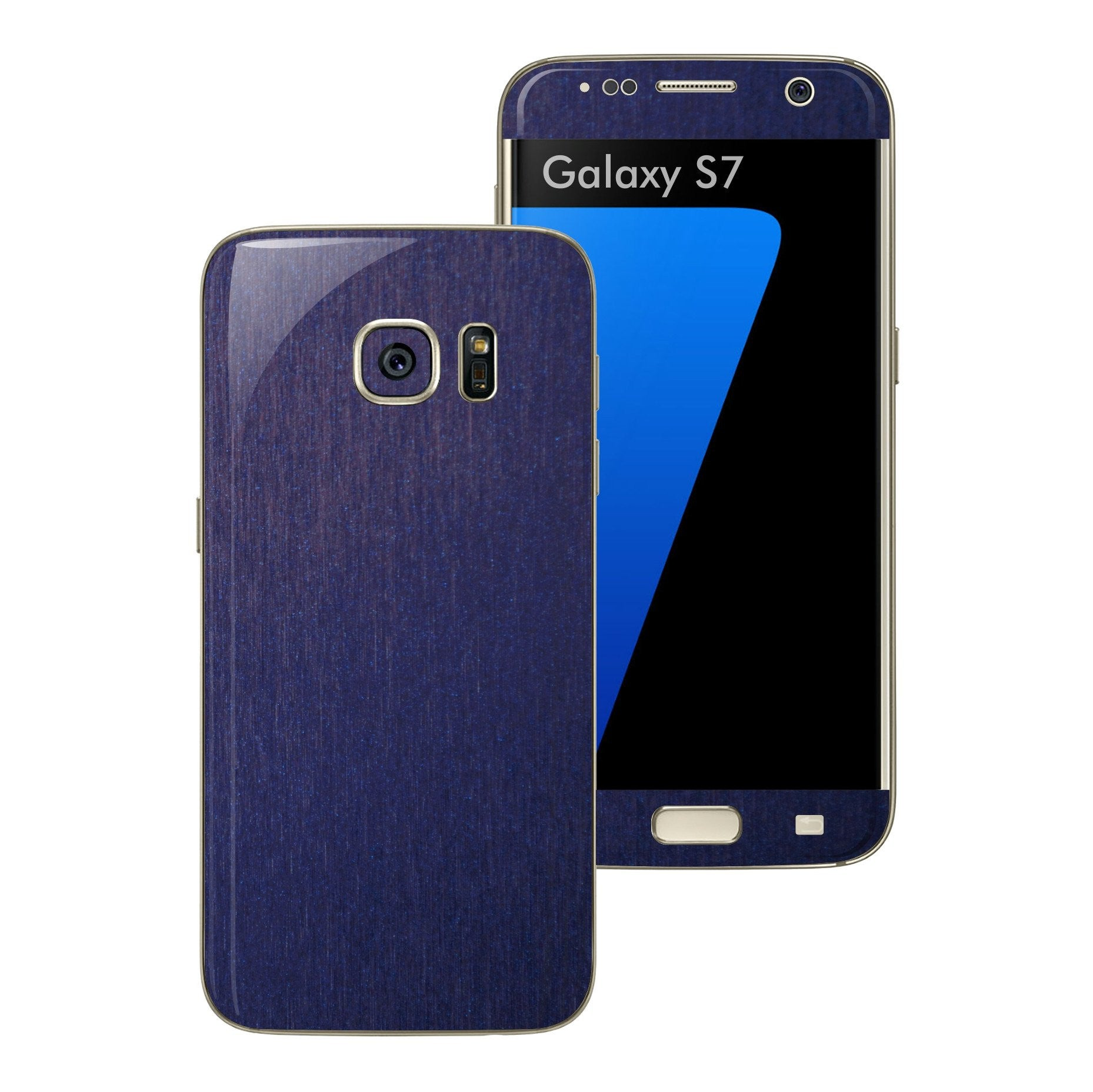 Samsung Galaxy S7 3M Brushed Blue Metallic Skin Wrap Decal Protector Cover Sticker by EasySkinz