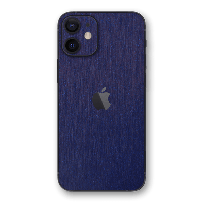 iPhone 12 Brushed Metal BLUE Metallic Skin, Wrap, Decal, Protector, Cover by EasySkinz | EasySkinz.com