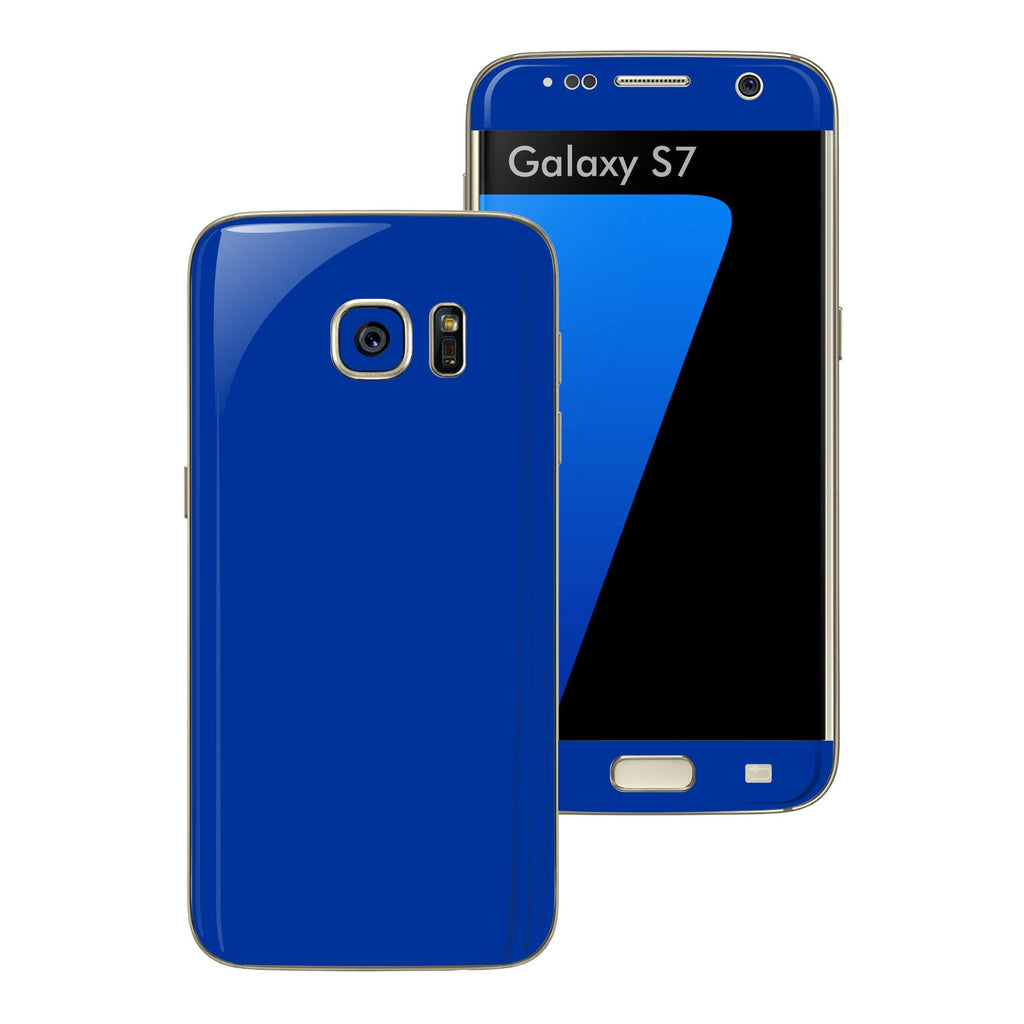 Samsung Galaxy S7 Glossy Royal BLUE Skin Wrap Decal Sticker Cover Protector by EasySkinz