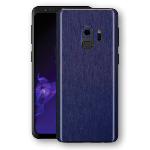 Samsung GALAXY S9 Brushed Blue Metallic Metal Skin, Decal, Wrap, Protector, Cover by EasySkinz | EasySkinz.com