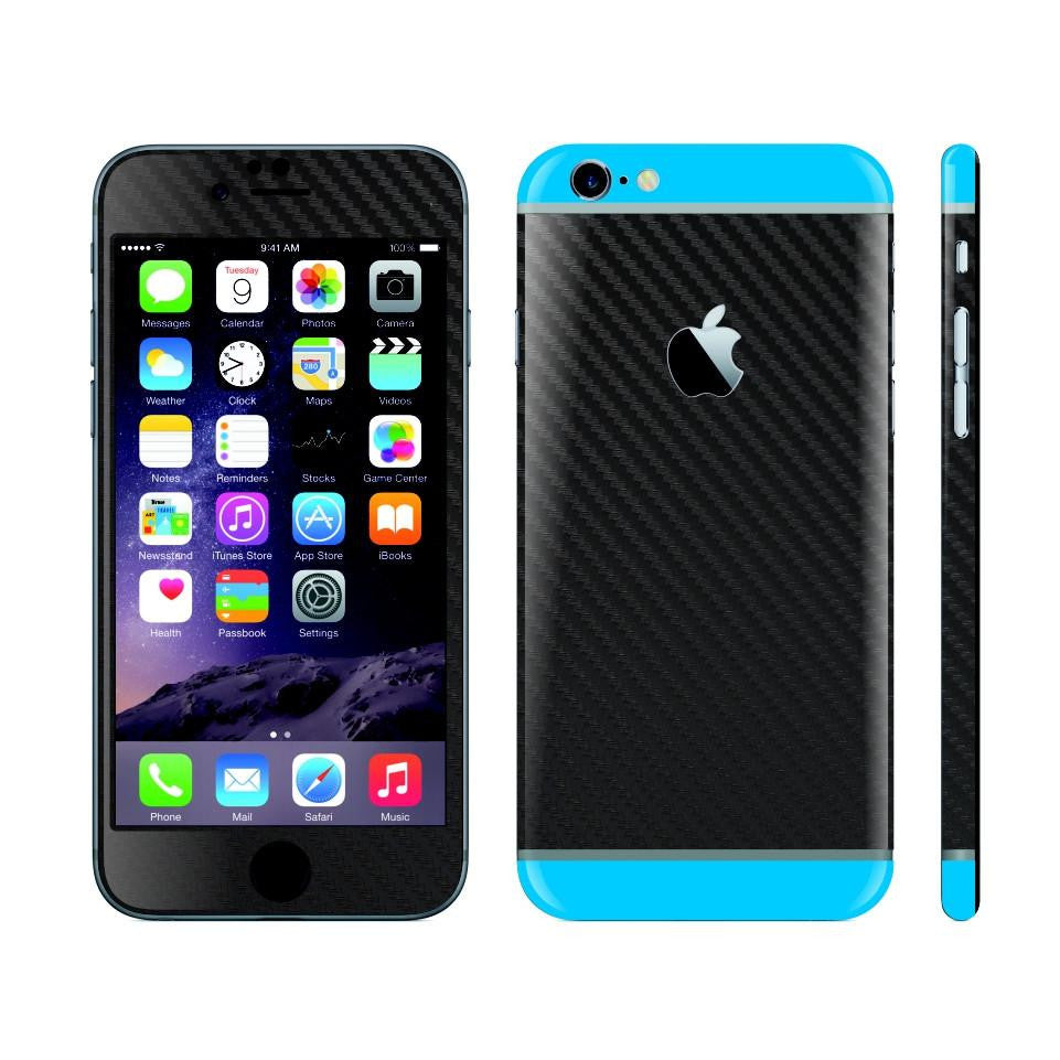 iPhone 6S PLUS Black Carbon Fibre Skin with Blue Matt Highlights Cover Decal Wrap Protector Sticker by EasySkinz