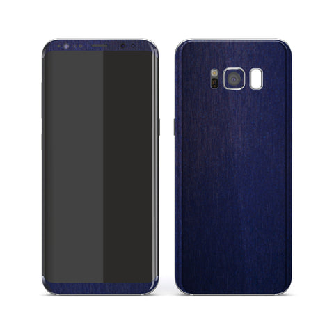 Samsung Galaxy S8 Brushed BLUE Metallic Metal Skin, Decal, Wrap, Protector, Cover by EasySkinz | EasySkinz.com