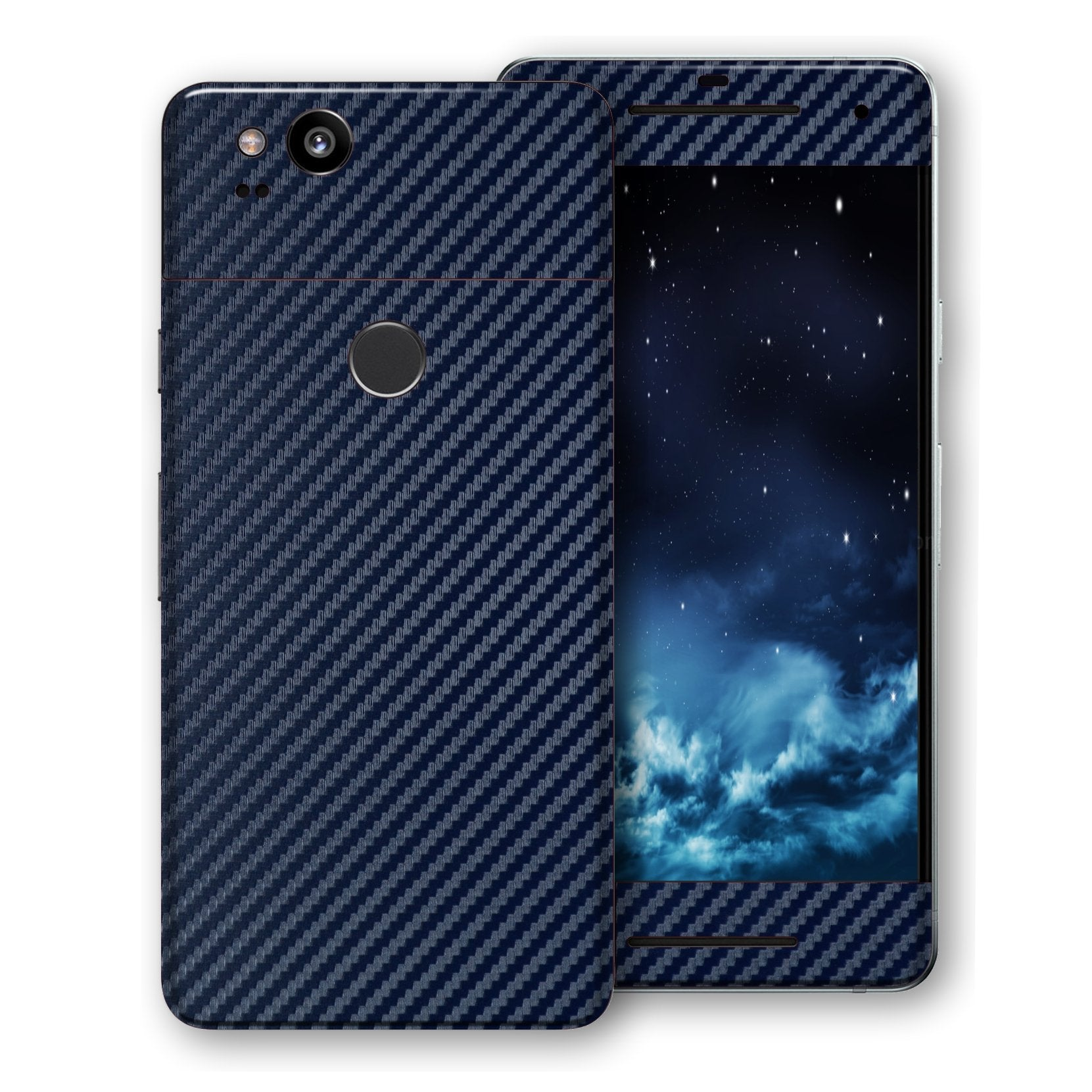 Google Pixel 2 3D Textured Navy Blue Carbon Fibre Fiber Skin, Decal, Wrap, Protector, Cover by EasySkinz | EasySkinz.com