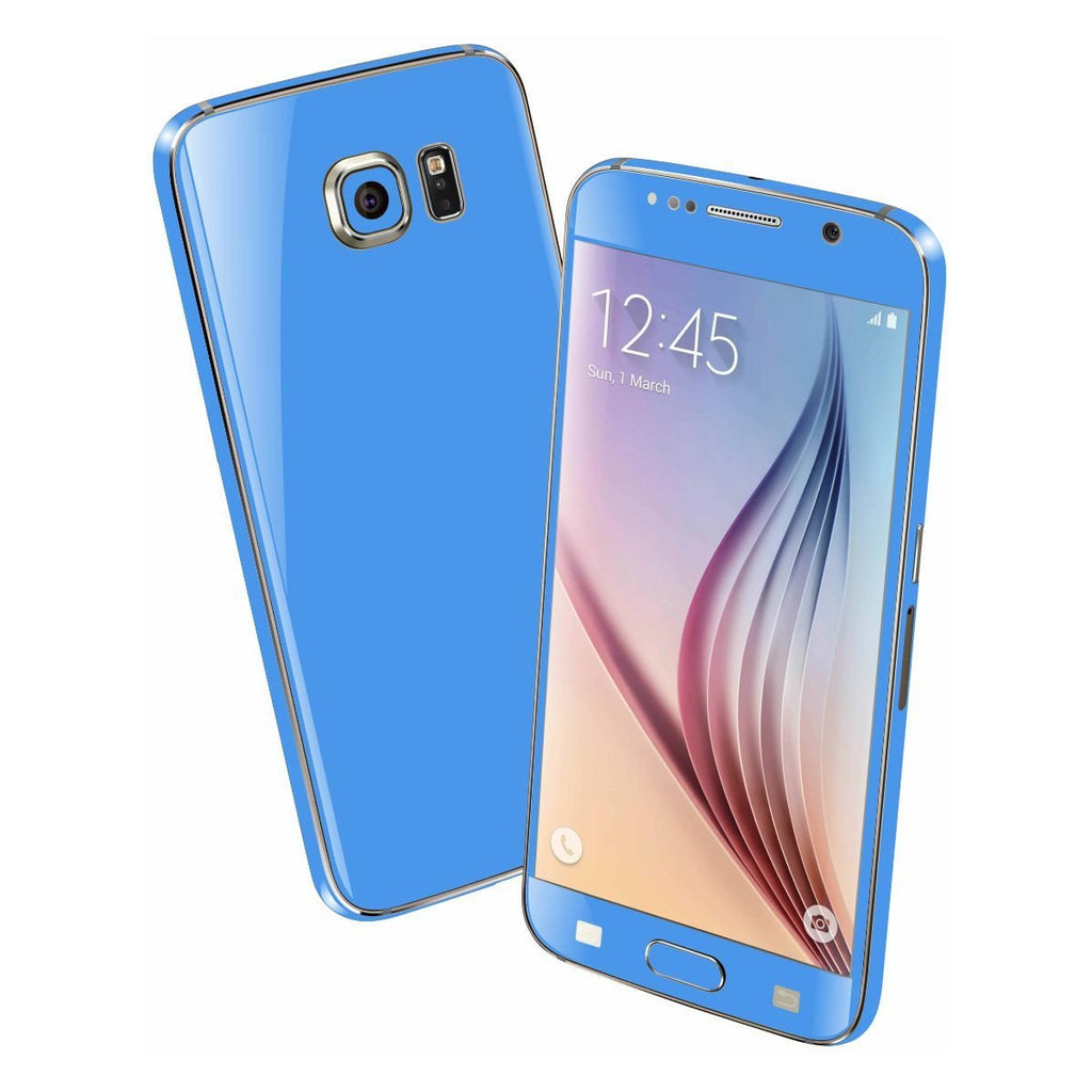 Samsung Galaxy S6 Colorful BLUE MATT Skin Wrap Sticker Cover Protector Decal by EasySkinz