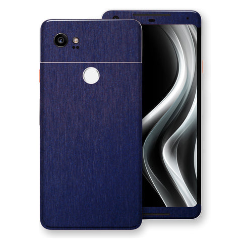 Google Pixel 2 XL Brushed Blue Metallic Metal Skin, Decal, Wrap, Protector, Cover by EasySkinz | EasySkinz.com