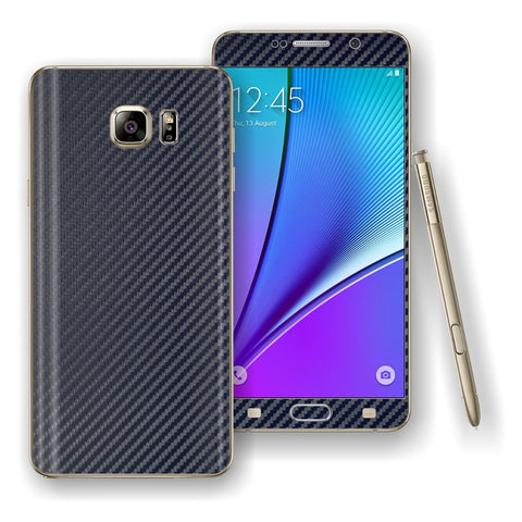 Samsung Galaxy NOTE 5 Navy Blue 3D Textured CARBON Fibre Skin Wrap Decal Cover Protector by EasySkinz