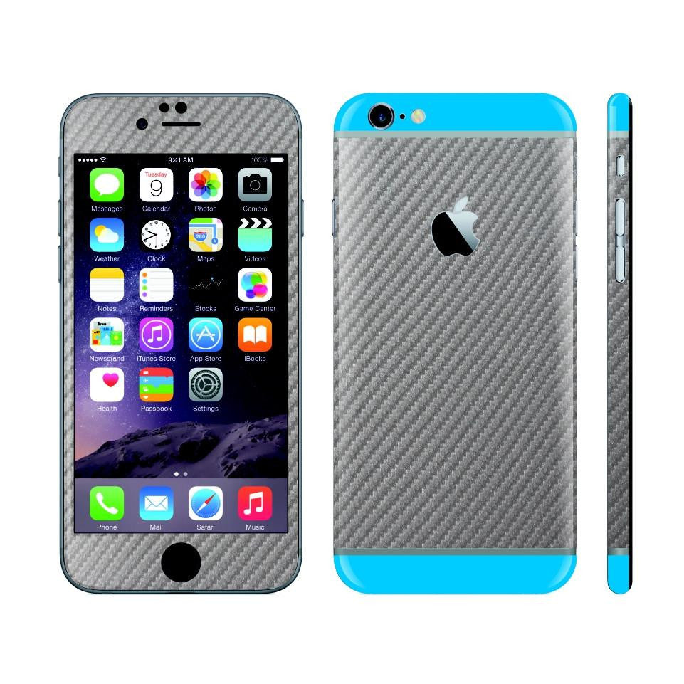 iPhone 6 Plus Metallic Grey Carbon Fibre Skin with Blue Matt Highlights Cover Decal Wrap Protector Sticker by EasySkinz